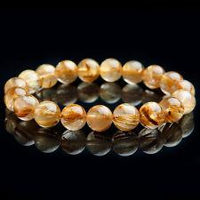 100% Natural Gold Rutilated Quartz Crystal Beads Wealthy Luck Bracelet AAA 11mm