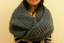 hand-knitted angora cashmere cowl infinity scarf(teal)