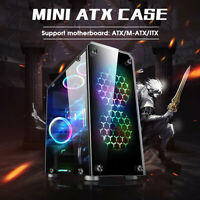 Micro ATX PC Gaming Case Transparent Tempered Glass USB 3.0 ITX Computer Desktop