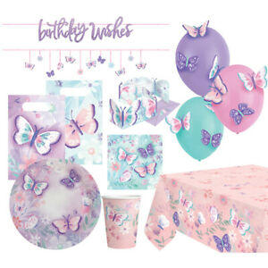 """Amscan """" Flutter """" Party Decoration Butterflies Birthday Disposable Dishes"""