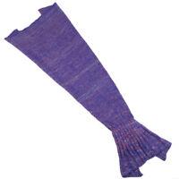 Kids Knitted Mermaid Tail Blanket Living Room Sleeping Bag Sofa Quilt Throws