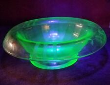 Vaseline Uranium Green Depression Glass Etched Footed Bowl Candy Dish Compote