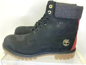 Timberland Embossed Dragon Limited Edition Black Red Leather 6in Boots Size 11.5