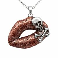 Skull Necklace Red Glitter Lips Crossbones Toxic Love Steel Pendant By Controse