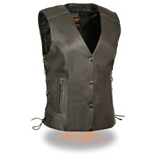 Milwaukee Leather Women's Side Lace Vest With  Reflective Piping  **MLL4500 BLK
