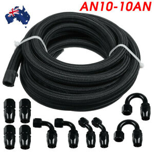 16FT AN10 10AN Nylon Stainless Steel Braided Fuel Hose End Adapter Kit Oil Line