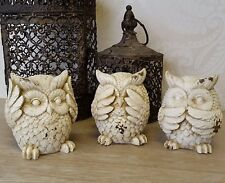 Set Of Three Owl Ornaments Beige Speak Hear See No Evil Figurines