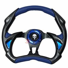 320mm JDM Racing Sport Steering Wheel Black Carbon Blue PVC Punisher Horn Button