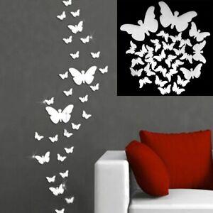 12pcs 3d Mirror Wall Sticker Removable Home Decoration Butterflies Art Stickers