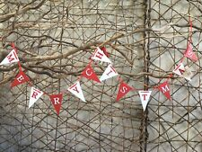 Heaven Sends red and white wooden flags Merry Christmas bunting 108cm