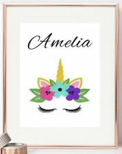 Unicorn Poster Print Personalised Bedroom Nursery Decor Picture Sign Girl Gift
