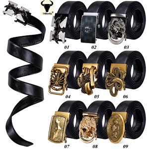 Fashion Animals Buckles Mens Belts Black Leather Automatic Ratchet Adjuastable