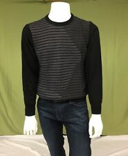 Men's St. Croix Black and Grey Wavy Sweater Size S