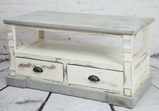 SHABBY CHIC TV UNIT WOODEN CREAM CABINET 2 DRAWER METAL HANDLES LIVING ROOM
