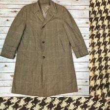 Bond Clothes Vintage Men's Wool Tweed Houndstooth Trench Jacket Bespoke Coat XL