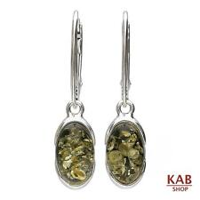 VERDE AMBRA BALTICA GEMMA & argento sterling 925 Orecchini jewelry. KAB -83