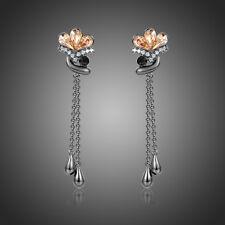Fashion Black Drop Dangle Chandelier Long Chain Crystal Flower Earrings Jewelry
