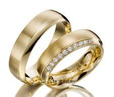 18K YELLOW GOLD HIS & HERS MATCHING DIAMOND WEDDING BANDS RINGS SET,SATIN FINISH