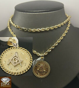 """Real 10k Yellow 4mm Gold Rope Chain Necklace 24"""" & Masonic Charm pendant Mens"""