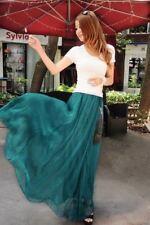 UK Women Beach Party Chiffon Pleated Long Maxi Skirt Dress Turquoise