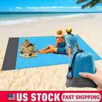 Sand-proof Beach Blanket Picnic Blanket Beach Camping Mat w/ 4 Anchors Carry Bag
