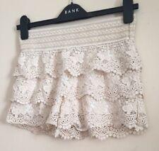 Ivory BETH Jordon Short 3 Tier Lace Micro Shorts  Size UK S, Stretchy Waistband