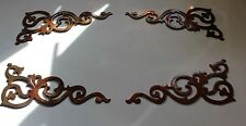 METAL WALL ART DECOR ACCENTS DECORATIVE SMALL SCROLL CORNERS SET OF 4