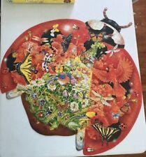 "Schmid Puzzle Shaped Ladybug Landing 1000pc Janet Skiles Art Over  24"" Complete"
