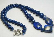 "Lapis Lazuli Necklace Real Natural Blue Egyptian Lapis Lazuli Beads Necklace 18"""