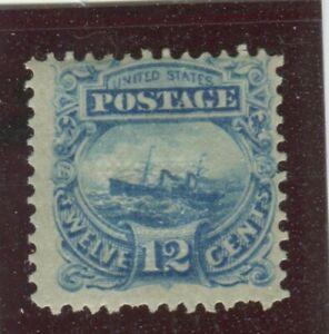 U.S. Stamps Scott #117 Bluish Green,MINT,H,Fine, 2 short perfs bottom ed (X221N)