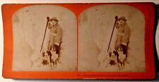 Stereoview Good Shepherd Pretty Woman Dog Snow antique 1890 Kilburn photo art