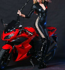 Latex Look Catsuit / Jumpsuit Lace Up Sleeves and Legs High Neck Zipper Front