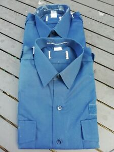 """2 x Ex Police Navy Blue Long Sleeved Firearms & Dog Hander Shirts, Size 16"""" 41cm"""