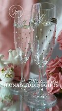 Swarovski Personalized Wedding Wine Glass Bride Groom Sparkle Bling Unique Gift