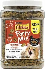 Friskies Party Mix Adult Cat Food Treats Canisters – Real Chicken 30 oz