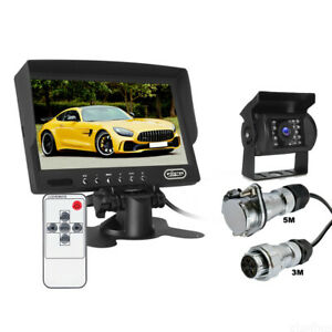 "7"" Monitor 4 PIN CCD Reversing Camera 5m+3m Suzy Coil Trailer Cable Kit 12v 24v"