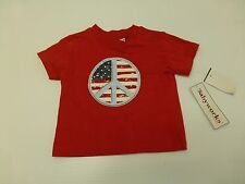 Baby Works Shirt Size 3/6M Red Fourth Of July Peace T Shirt New