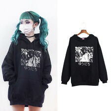 Winter Women Hoodie Long Sleeve Japanese Anime Print Hooded Pocket Casual Style