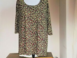 NWOT SIZE 30/32 (1647 4) MULTICOLOUR DITSY PRINT FLORAL JERSEY A-LINE TUNIC TOP