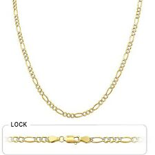 """3.70mm 26"""" 12.20gm 14k Gold Solid Two Tone Men's Figaro Polish Chain Necklace"""