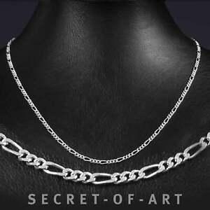 Figarokette Silber 925 Halskette Figaro Kette 3mm Damen Länge: 50-55-60 cm
