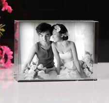 Custom Laser Etched Crystal Glass Photo Acrylic Frame updated Paperweight Gift