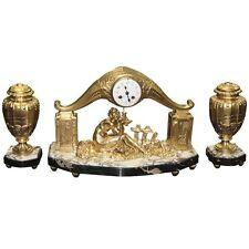 French Art Deco Gilt Clock Garniture Set Signed Limousin Circa 1940s.