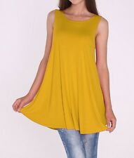 Women Long Tunic Dress Tank Top Sleeveless Scoop Neck Solid Shirt SML/1X 2XL 3XL
