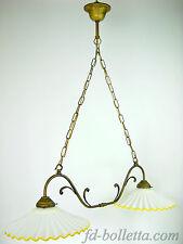 Lampadario ottone brunito liberty sospensione due luci,piatti ceramica l2r2012