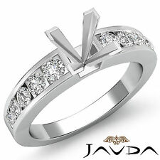 Diamond Engagement Princess Semi Mount Ring Channel Setting 18k White Gold 0.7Ct