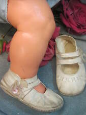 ANTIQUE vintage LEATHER kid DOLL baby SHOES double ANKLE STRAP ribbon insert 4""