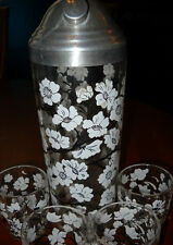RARE ANTIQUE ART DECO WHITE DOGWOOD BLOSSOMS BARWARE SET MARTINI SHAKER 6 SHOTS