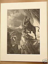 BULL ACCIDENT SWISS ALPS ANTIQUE MOUNTED ENGRAVING 1890