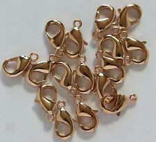 10 MM  Rose Gold  Plated Brass Lobster Clasp Pkg. of 25 /Quality  US Seller